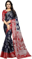 Saarah Self Design Fashion Art Silk Saree(Dark Blue)