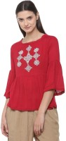 People Casual Bell Sleeve Solid Women Red Top