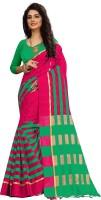 Aradhna Tex Checkered Arani Pattu Cotton Blend Saree(Dark Green)