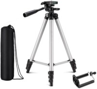 Mob Fest Tripod-3110 Portable Adjustable Aluminum Lightweight Camera Stand With Three-Dimensional Head & Quick Release Plate and mobile holder For Video Cameras and mobile Tripod Tripod(Silver, Black, Supports Up to 1500 g)