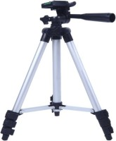 Mob Fest Tripod 3110A 3-Way Head, Built in Level, Aluminium Legs, Quick Lever Lock Tripod(Silver, Black, Supports Up to 1500 g)