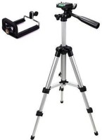 Mob Fest Tripod With Mobile Clip Holder Bracket Tripod(Silver, Black, Supports Up to 1500 g) Tripod(Silver, Black, Supports Up to 1500 g)