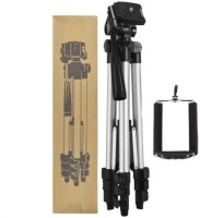 Kumar Retail 3110 Tripod with Mobile Clip Holder Bracket for All DSLR Cameras and Smartphones Tripod(Silver,Black, Supports Up to 3200 g)