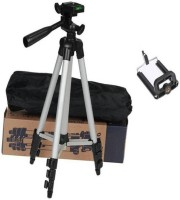 Mob Fest Adjustable Aluminium Lightweight Camera Stand Tripod-3110 With Three-Dimensional Head & Quick Release Plate For Video Cameras and mobile clip holder for Mobiles & Smartphones Tripod (Silver, Black, Supports Up to 1500 g) Tripod(Silver, Black, Supports Up to 1500 g)