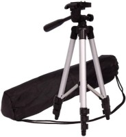 Mob Fest Tripod Portable Adjustable Aluminum Lightweight Camera Stand With Three-Dimensional Head & Quick Release Tripod(Silver, Black, Supports Up to 1500 g)