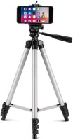 Mob Fest Tripod Portable Adjustable Aluminum Lightweight Camera Stand Tripod(Silver, Black, Supports Up to 1500 g)