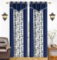 Ville Style 214 cm (7 ft) Polyester Door Curtain (Pack Of 2)(Floral, Blue)