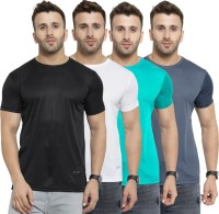 AWG Solid Men Round or Crew Multicolor T-Shirt(Pack of 4)