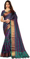shoppershopee Checkered Kanjivaram Poly Silk, Cotton Blend Saree(Multicolor)