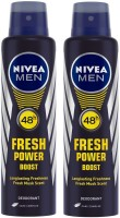 Nivea Men Fresh Power Boost Deodorant Body Spray  -  For Men(300 ml, Pack of 2)