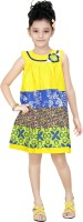 Trendyy Girls Midi/Knee Length Casual Dress(Yellow, Sleeveless)