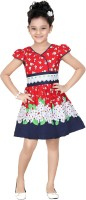 Trendyy Girls Midi/Knee Length Casual Dress(Red, Cap Sleeve)