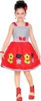 Trendyy Girls Midi/Knee Length Party Dress(Red, Sleeveless)