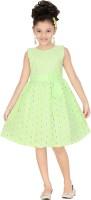 Trendyy Girls Midi/Knee Length Party Dress(Green, Half Sleeve)