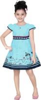 Trendyy Girls Midi/Knee Length Casual Dress(Blue, Cap Sleeve)