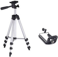 GROSTAR Professional Tripod 3120 - Universal Tripod Portable & Foldable Camera - Mobile Tripod With Mobile Clip Holder Bracket | Fully Flexible Mount Cum Tripod | Stand with Three-dimensional Head & Quick Release Plate + Black Carry Bag for Cameras | Camcorders | iPhone & Androids Tripod Tripod(Silv