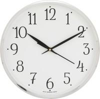 Precisio Analog 25 cm X 25 cm Wall Clock(Silver, With Glass)