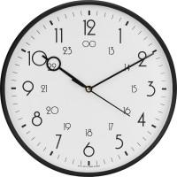 Precisio Analog 31 cm X 31 cm Wall Clock(Black, With Glass)