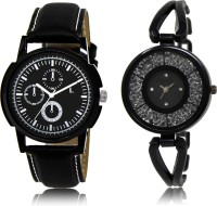 FASHION POOL NEW ARRIVAL FAST SELLING ROUND ANALOG DIAL '' BLACK '' COUPLE COMBO WATCH. METAL & LEATHER BELT NEW ARRIVAL FAST SELLING TRACK DESIGNER WATCH FOR FESTIVAL_PARTY_PROFESSIONAL_VALENTINE_BIRTHDAY GIFT SPECIAL COMBO WATCH FOR MEN_WOMEN Analog Watch  - For Couple