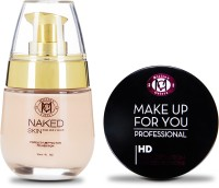 Million Colors Set of Naked Skin Foundation and Pressed HD Compact - Make up for you(Set of 2)