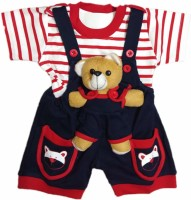 SAS Dungaree For Boys & Girls Party Applique Cotton Blend(Blue, Pack of 1)