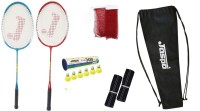Jaspo GT 303 Pro Red/Blue Badminton Set(2 Badminton Racket and 6 Nylon Shuttle Cork,1 Carry Bag,1 Grip,1 Badminton net) Badminton Kit