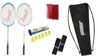 Jaspo GT 303 Pro Sliver/Blue Badminton Set(2 Badminton Racket and 6 Nylon Shuttle Cork,1 Carry Bag,1 Grip,1 Badminton net) Badminton Kit