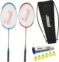 Jaspo GT-303 Intact Blue/Red Badminton Set(2 Badminton Racket and 6 Nylon Shuttle Cork,dori bag)) Badminton Kit