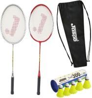 Jaspo GT-303 Intact Red/Sliver Badminton Set(2 Badminton Racket and 6 Nylon Shuttle Cork,dori bag)) Badminton Kit
