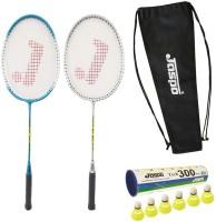 Jaspo GT-303 Intact Blue/Sliver Badminton Set(2 Badminton Racket and 6 Nylon Shuttle Cork,dori bag)) Badminton Kit