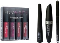 Huda Beauty Liquid Matte Lipstick Red Edition & Eyeliner & Mascara & Eyebrow Pencil(Set of 4)