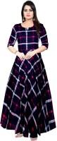Mudrika Women Gown Blue, Pink Dress