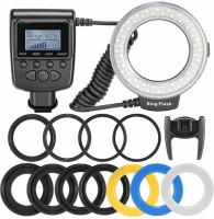 SHOPEE 48 Macro LED Ring Flash Bundle with LCD Display Power Control, Adapter Rings and Flash Diffusers for 650D,600D,5D / D5000,D3000,D5100 Ring Flash(Black)
