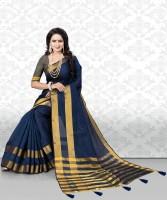 Divastri Striped Leheria Cotton Silk, Tussar Silk Saree(Dark Blue)