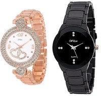 Wilton Designer Rose Gold Heart Design Diamond Watch & Black Belt Watch for Girls & Women's Combo-2 nn-23 Analog Watch  - For Girls