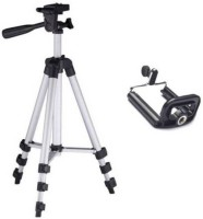GROSTAR Portable & Foldable Camera & Mobile Tripod with Mobile Clip Holder Bracket Fully Flexible Mount Cum Tripod Stand with Three-Dimensional Head & Quick Release Plate Tripod Tripod(Silver, Black, Supports Up to 3200 g)