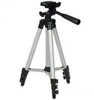 GROSTAR Tripod-3110 Portable Adjustable Aluminum Lightweight Camera Stand With Three-Dimensional Head & Quick Release Plate For Video Cameras and mobile Tripod(Silver, Black, Supports Up to 3200 g)