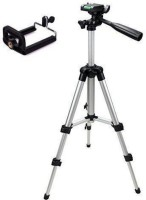 Mob Fest Tripod-3110 Portable Adjustable Aluminum Lightweight Camera Stand With Three-Dimensional Head & Quick Release Plate For Video Cameras and mobile Tripod(Silver, Black, Supports Up to 1500 g)