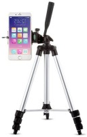 casadomani 3110 Tripod stand With 3-Way Head Light weight Digital Camera Tripod with Mobile Clip Holder Best Use for Make Videos on Tiktok,Vigo Video,Snapchat, YouTube and Dubsmash Tripod(Silver & Black, Supports Up to 1500 g)