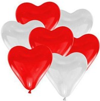 TRISHRA Solid Heart Shaped Balloon Red & White (Pack of 30) Balloon(Red, White, Pack of 30)