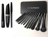THETOPNOTCH 12 Peice Makeup Brush Set & MAC Liquid Eye Liner & Mac Mascara & Mac Eyebrow Pencil (MAC 3 in 1) (Set of 4)(2 Items in the set)