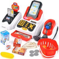 Smartcraft Cash Register Series with Checkout Scanner, Credit Card Machine, Play Money and Food Shopping Play Set for Kids