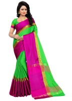 HITESH ENTERPRISE Solid Fashion Cotton Silk Saree(Green)
