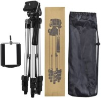 techobucks Tripod-3110 Portable Adjustable Aluminium High Quality Lightweight Camera Stand With Three-Dimensional Head & Quick Release Plate For Video Cameras Foldable Tripod With Mobile Clip Holder Bracket Tripod(Silver, Black, Supports Up to 1500 g)