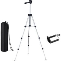 eDUST 3110A -Portable Adjustable Lightweight Camera Stand Tripod-3110 With Three-Dimensional Head & Quick Release Plate For Video Cameras and mobile clip holder for Smartphones & Mobiles Tripod ( Supports Up to 1500 g) Tripod(Black, Silver, Supports Up to 1500 g)