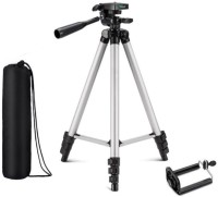 KBOOM Camera 3110 Tripod Stand Mobile Phone Mini Portable Lightweight Aluminum Tripod with Mobile Phone holder Tripod(Silver, Black, Supports Up to 1500 g)