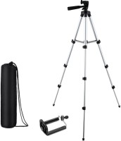 KBOOM Camera Tripod With 3-Way Head Tripod for Digital Camera DV Camcorder, Tripod 3110 with mobile Phone holder mount Tripod(Silver, Black, Supports Up to 1500 g)