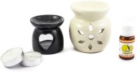 Lyallpur Stores Handcrafted Aroma Ceramic Tealight Diffuser Pot Shape Design With Lemon Fragrance oil And Candle Clay Lamp Diffuser Set(4 x 2.5 ml)