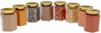 Satyam Kraft Hexagon jar  - 220 ml Glass Spice Container, Grocery Container(Pack of 8, Clear)