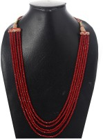 Indoline Five Layer Color Crystal Beads Necklace Jewellery for Women and Girls (Red) Crystal Necklace